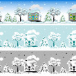 Stock Vector: Christmas house in snow