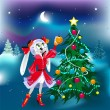 New Year Rabbit Girl — Image vectorielle