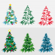 Stock Vector: Set Christmas tree