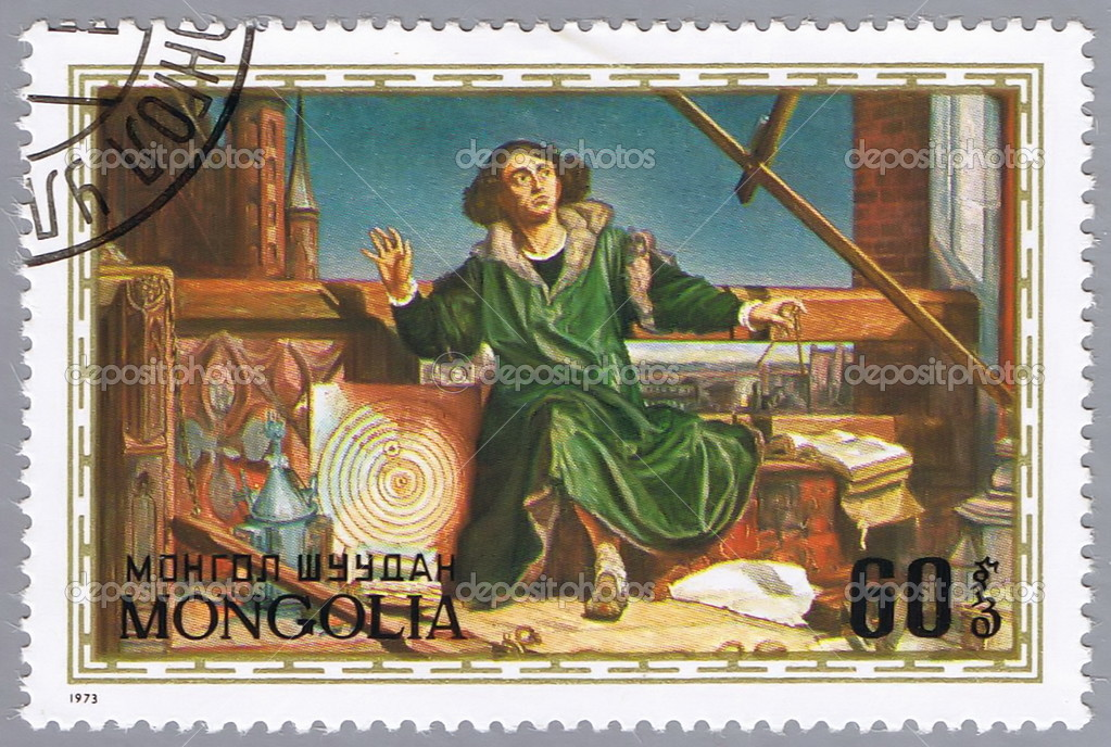 MONGOLIA - CIRCA 1973: A stamp printed in Mongolia shows image of Nicolaus Copernicus, the Polish astronomer, series, circa 1973  — Stock Photo #3027792