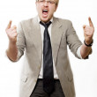 Anger man in suit shouts — Stock Photo