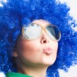 Happy woman in blue wig in Sunglasses — Stock Photo