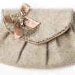 Grey purse with bow - Stock Photo