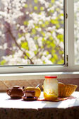 Breakfast on the sunny kitchen — Stock Photo