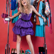 Beautiful woman in fashio clothes in the dressing room — Foto de Stock