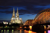 Cologne Cathedral by night — Stock Photo