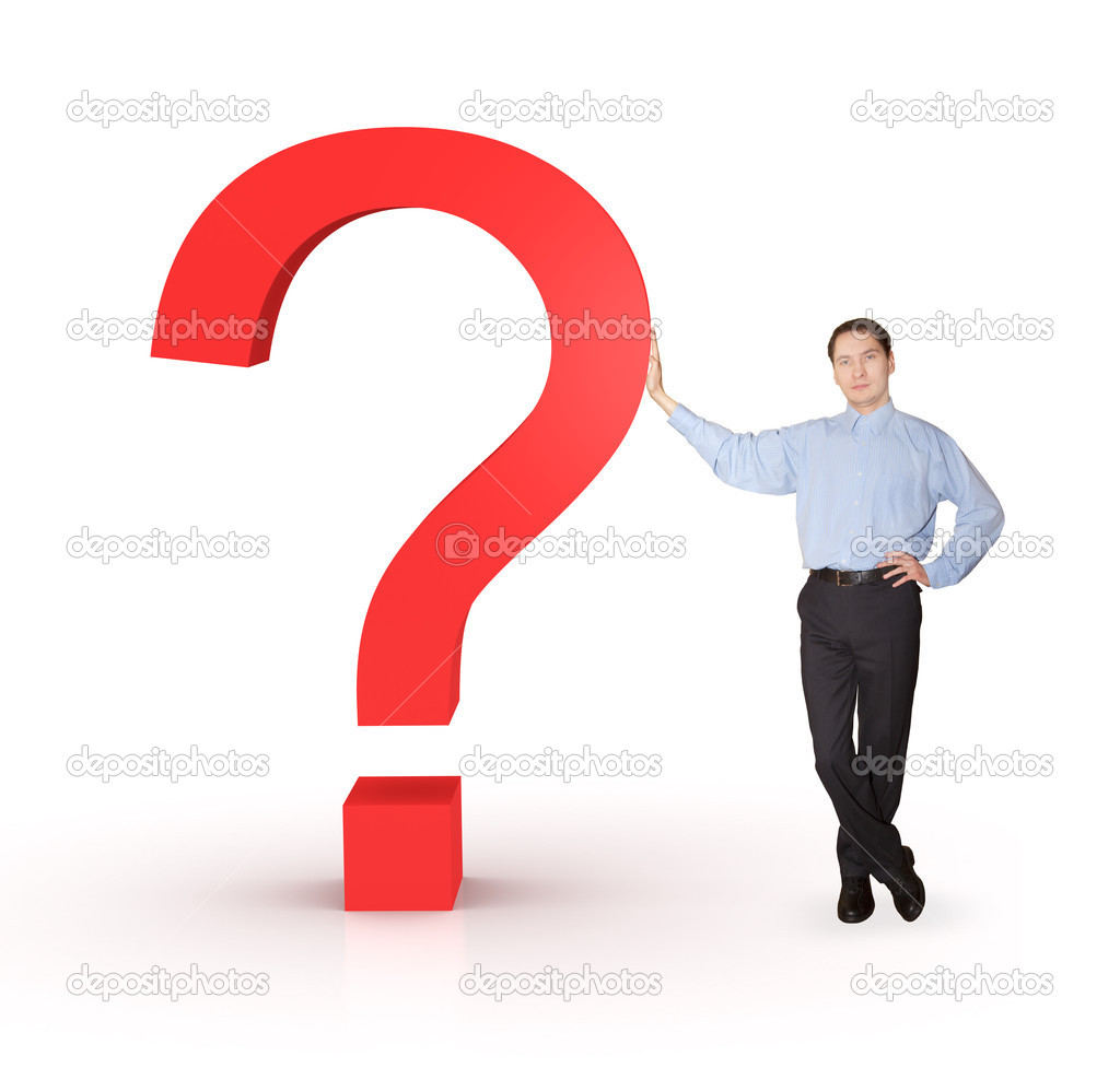 Businessman with question mark.  Stock Photo #2818331