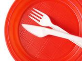 红色的一次性盘子 — 图库照片