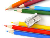 Pencils and sharpener — Stock Photo