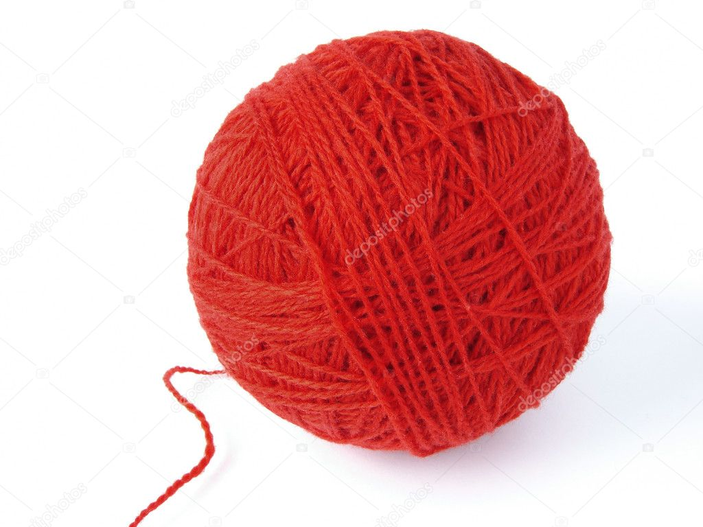 Red wool ball for knitting                                — Stock Photo #3438069