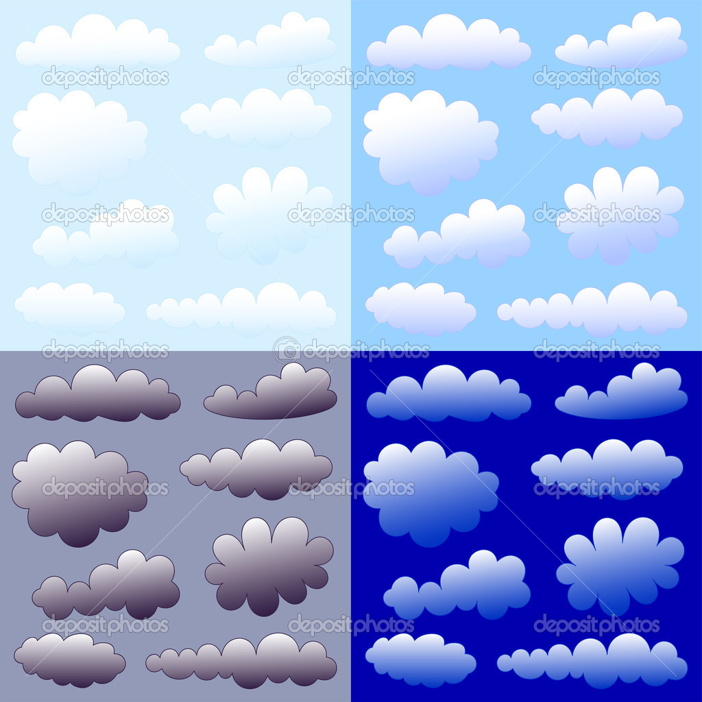 Cartoon clouds collection day night dull light  Stock Vector #3645708