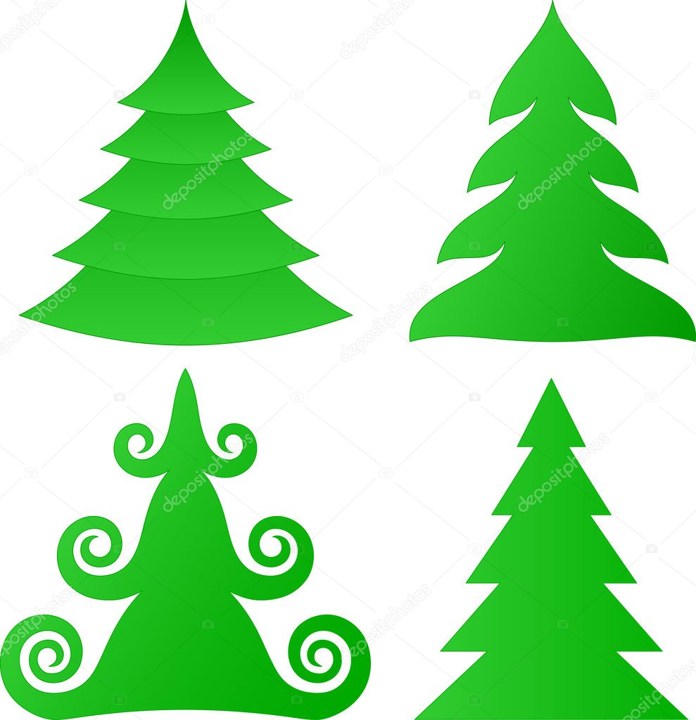 Vector Christmas trees collection — Stock Vector #3716937