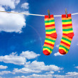 Stock Photo: Socks on rope