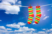 Calcetines en una cuerda — Foto de Stock
