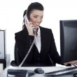 Business woman busy at office — Stock Photo