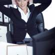 Relaxing business woman at her bay — Stock Photo