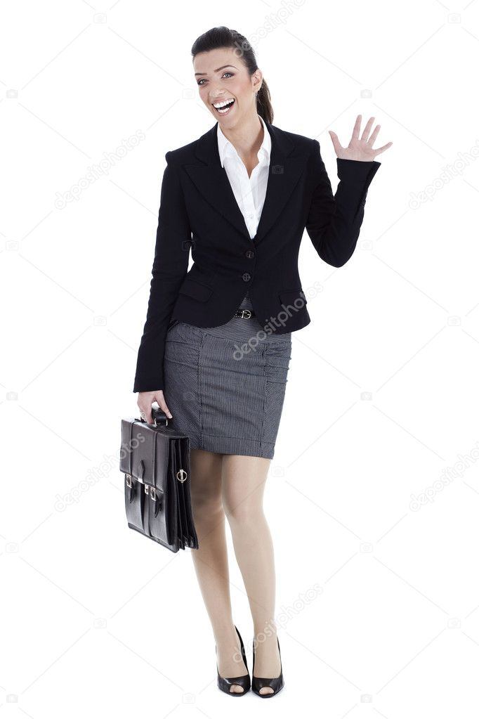 Business woman says HAI on isolated white background  Stock Photo #2805847