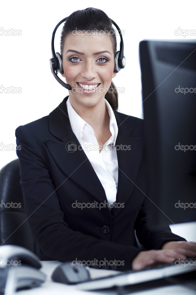 Receptionist at work with headset over isolated white background — Stock Photo #2806671