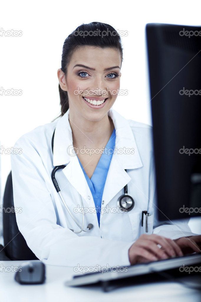 Female doctor working in the system over white background  Stock Photo #2807184