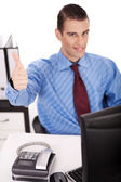 Young Business man showing thumbs up — Stock Photo