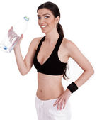 Fitness women smiling with water bottle — Stock Photo