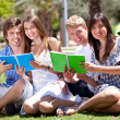 Smiling young couple holding books — Stockfoto