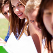 Group of students reading books — Stock Photo