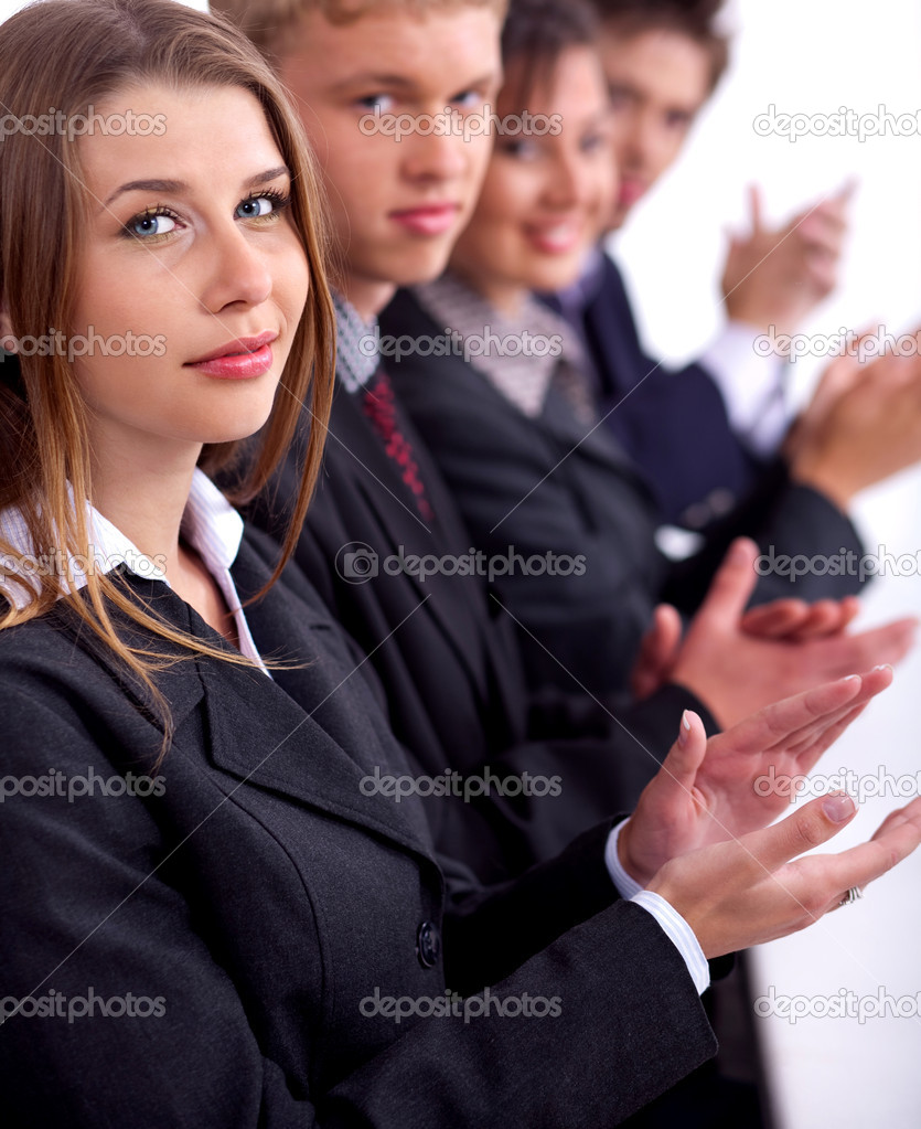 Group of business sitting in the meeting and clapping — Stock Photo #3031553