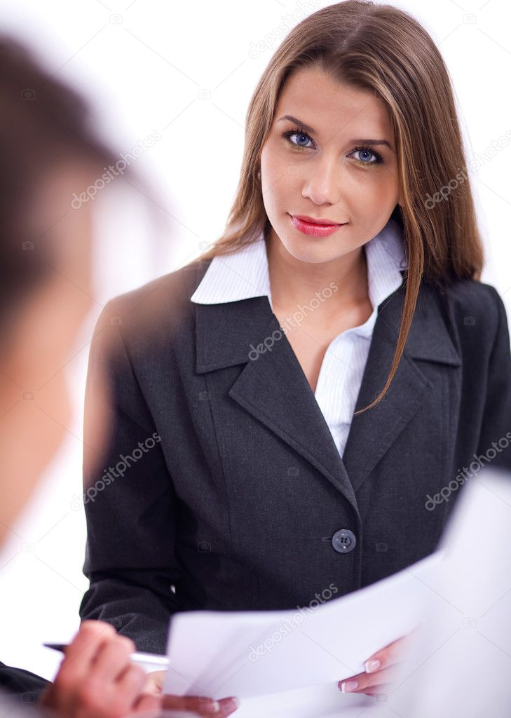 Stylish Business woman in meeting over white background — Stockfoto #3077454