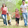 Foto Stock: Family of four in the park