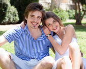 Smiling romantic young couple — Stock Photo