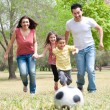 Parents and two young children playing soccer in the green field - Stock Photo