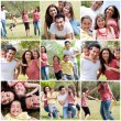 Happy family enjoying in the park — Foto de Stock