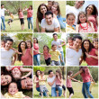 Happy family enjoying in the park - Stock Photo