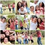 Glad familj njuter i parken — Stockfoto