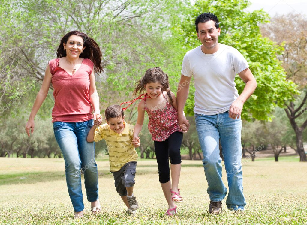 Family running on the park, outdoor  Stock Photo #3308975