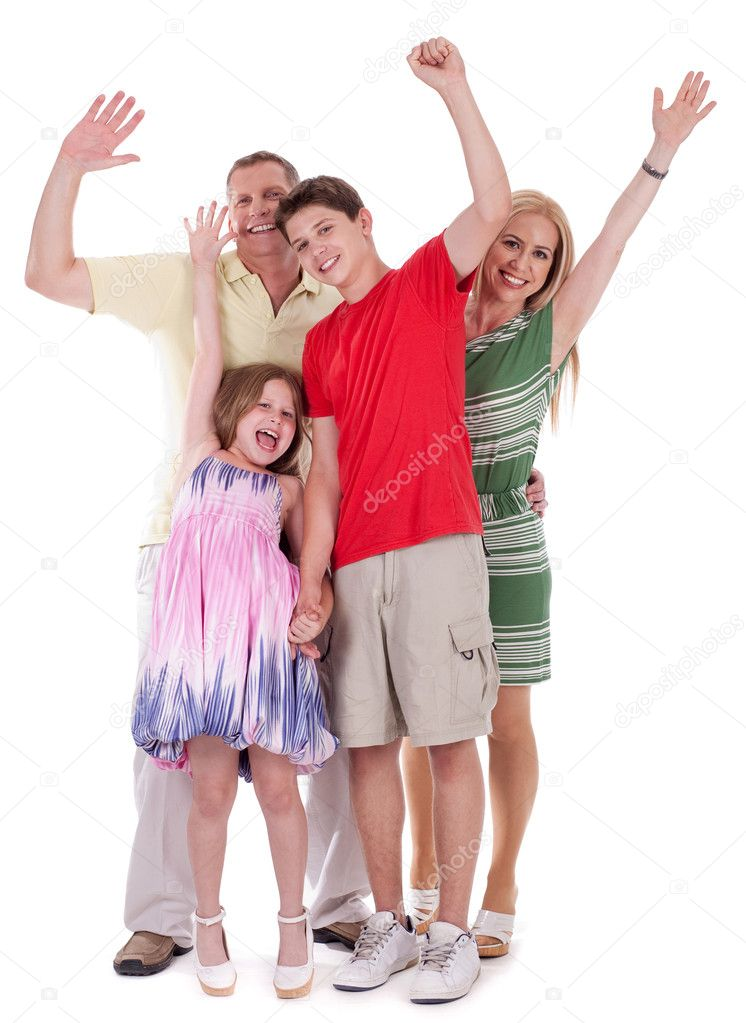 Happy family raising their hands and having fun over white background — Stock Photo #3309223