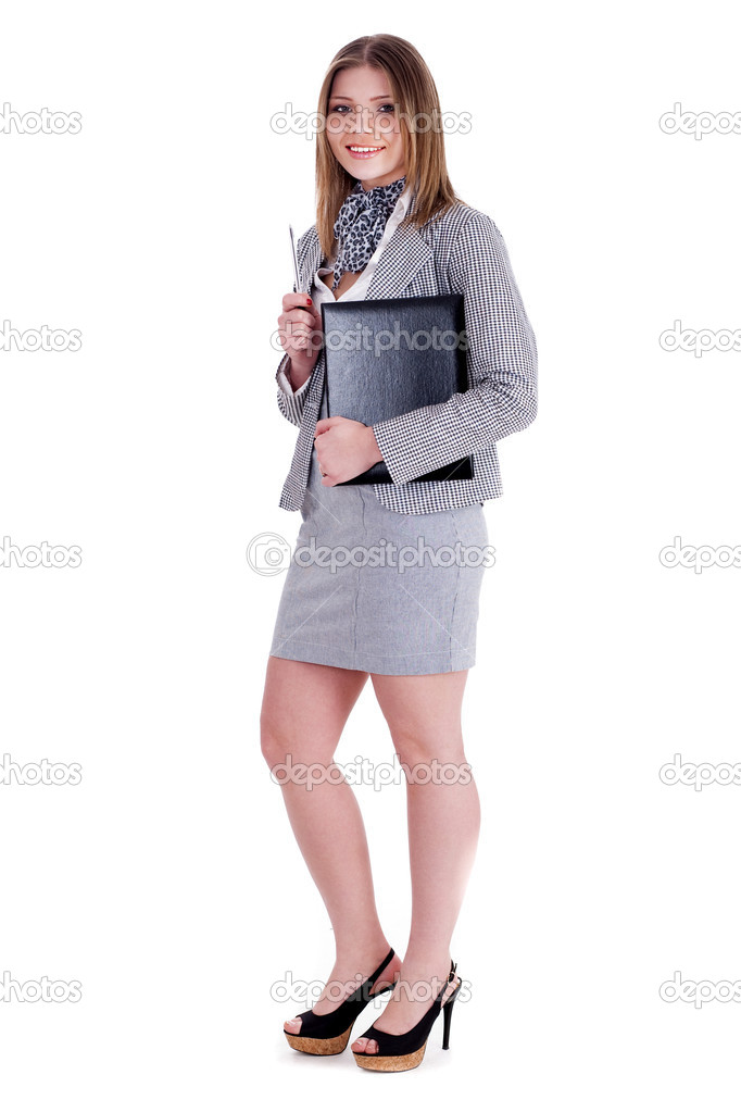 Charming business woman standing and holding her office file over white background — Stock Photo #3398575