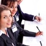 primo piano di donna attraente business con collega — Foto Stock
