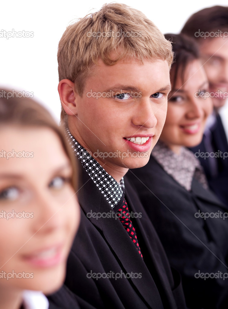 Happy business men with colleague sitting in a row,over white background — Stock Photo #3435937