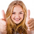 Closeup of women showing thumbs up in both hands - Stock Photo