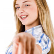 Women smiling and pointing at the camera — Stock Photo
