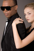 Portrait of young beautiful couple, black man and white woman — Stock Photo
