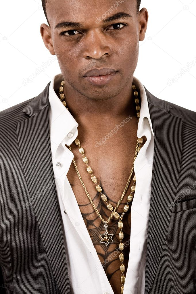 Closeup portrait of african american man on a isolated white background  Foto Stock #3440534