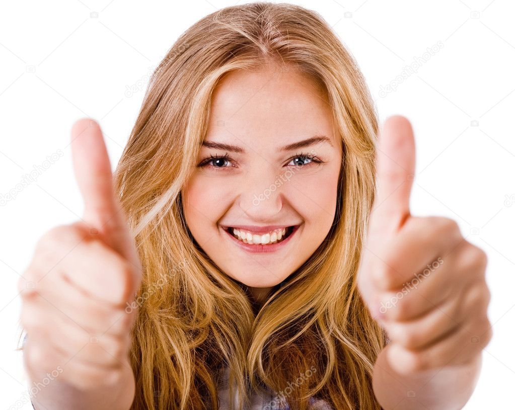 Closeup of women showing thumbs up in both hands on a isolated white background  Stock Photo #3440703