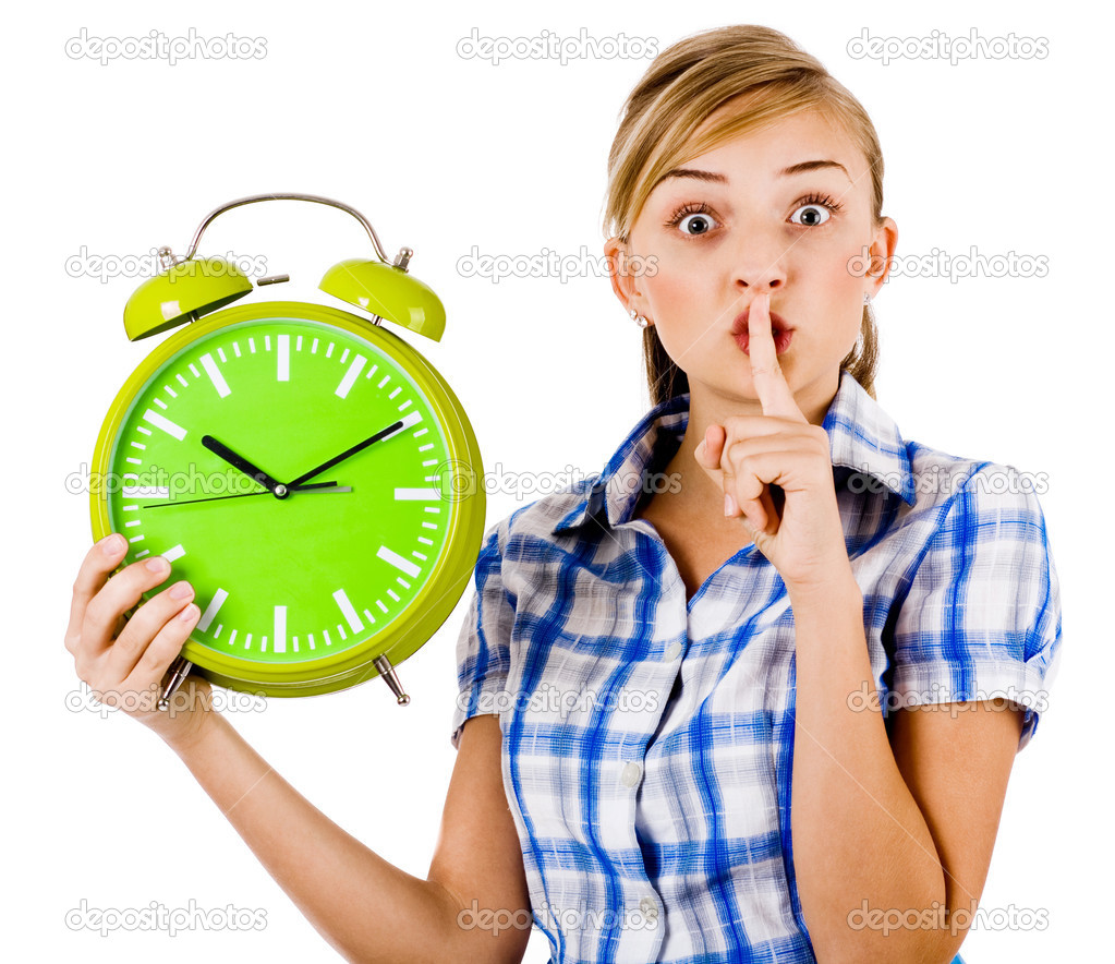 Girl with the clock asking us to maintain silence on a white background — Stock Photo #3440787