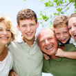 Close-up shot of a happy family — Foto Stock
