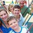 Close-up shot of a family playing in the playground — Stock Photo