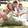 Family lying  in the park - Stock Photo