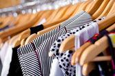 Multi-coloured wardrobe showcase, closeup — Stock Photo
